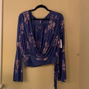 Free People Blue Floral Drape Blouse
